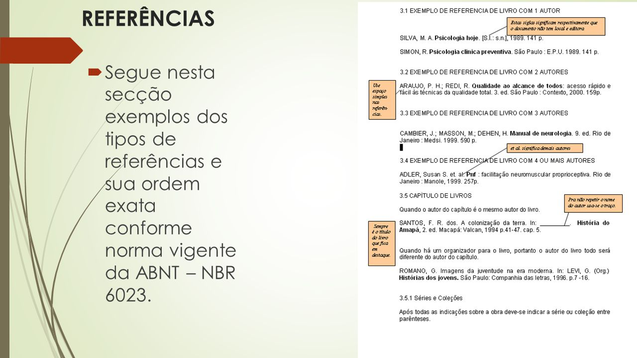 REFERÊNCIAS Segue nesta secção exemplos dos tipos de referências e sua ordem exata conforme norma vigente da ABNT – NBR 6023.
