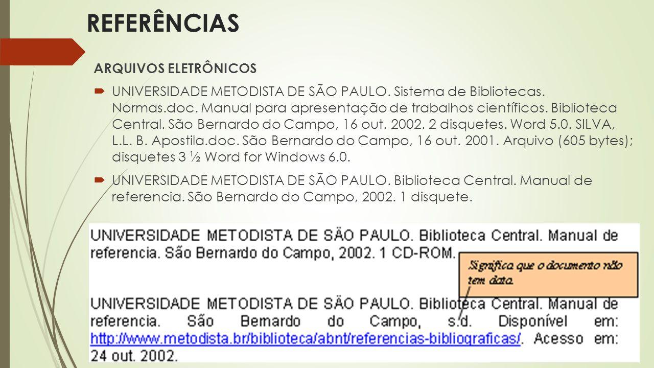 REFERÊNCIAS ARQUIVOS ELETRÔNICOS