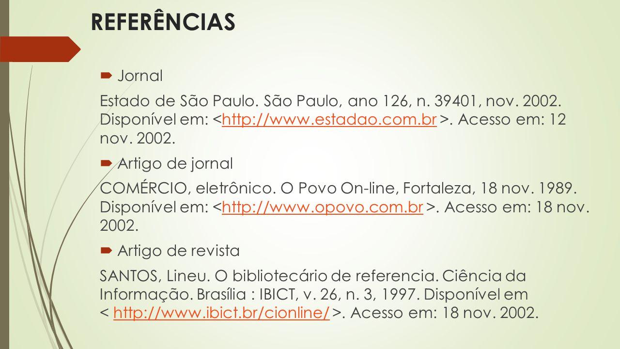 REFERÊNCIAS Jornal.