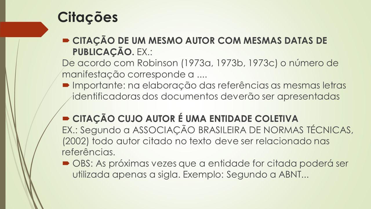 Citações CITAÇÃO DE UM MESMO AUTOR COM MESMAS DATAS DE PUBLICAÇÃO. EX.: