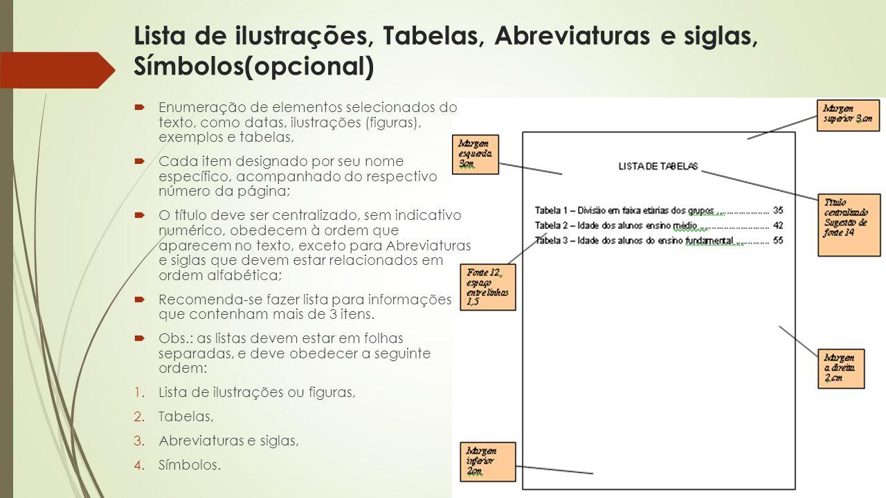 Lista de ilustrações, Tabelas, Abreviaturas e siglas, Símbolos(opcional)