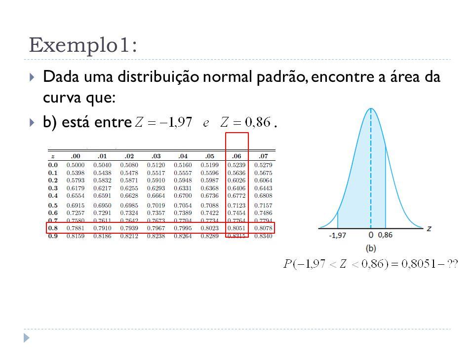Exemplo1: Dada uma distribuição normal padrão, encontre a área da curva que: b) está entre .