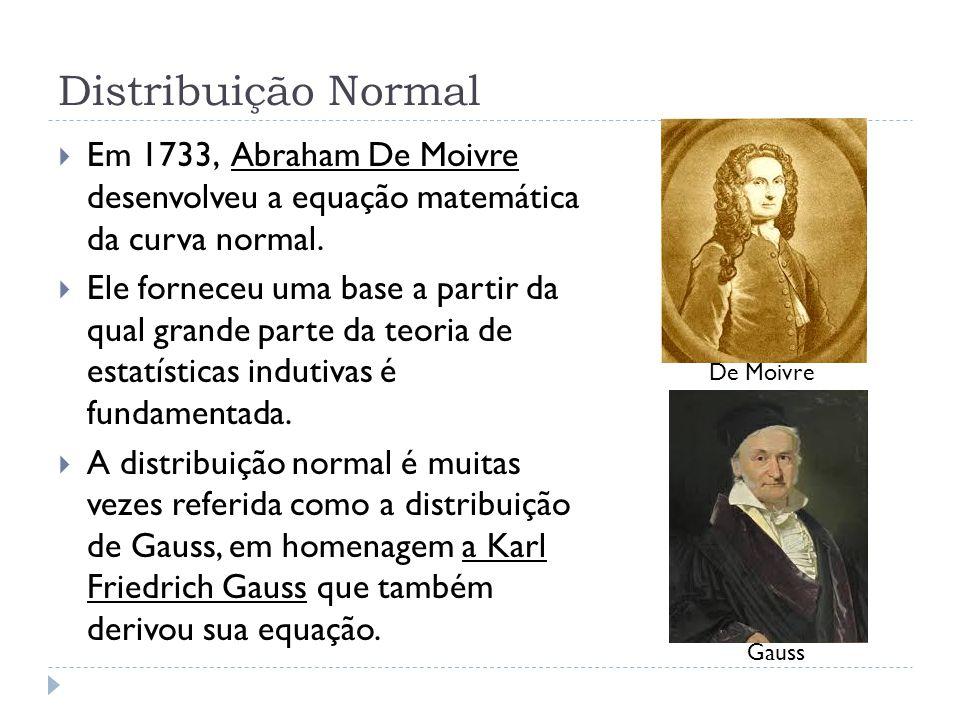 Distribuição Normal Em 1733, Abraham De Moivre desenvolveu a equação matemática da curva normal.