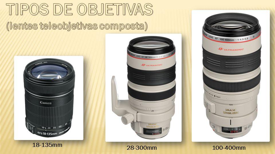 TIPOS DE OBJETIVAS (lentes teleobjetivas composta) 18-135mm 28-300mm