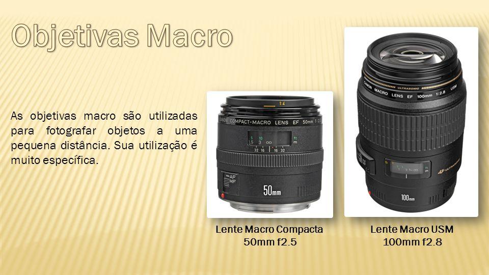 Objetivas Macro As objetivas macro são utilizadas para fotografar objetos a uma pequena distância. Sua utilização é muito específica.