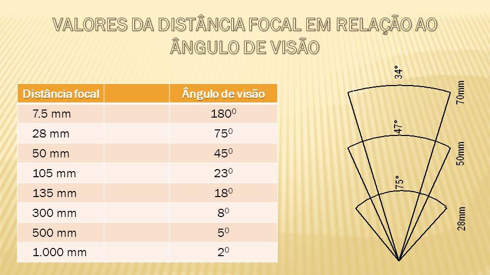 VALORES DA DISTÂNCIA FOCAL EM RELAÇÃO AO ÂNGULO DE VISÃO