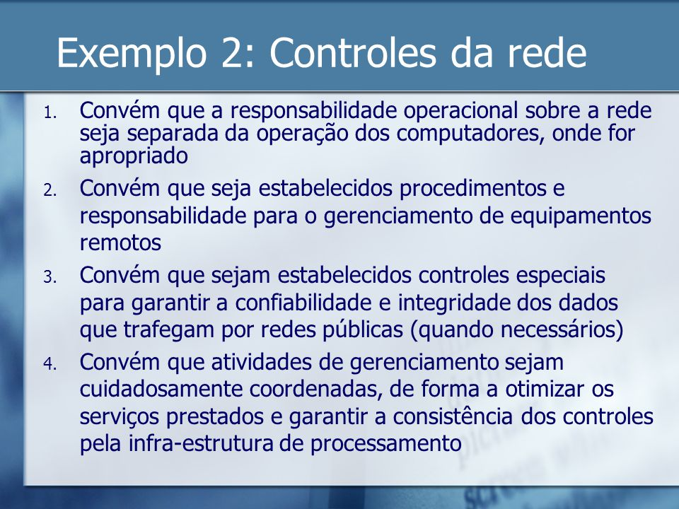 Exemplo 2: Controles da rede
