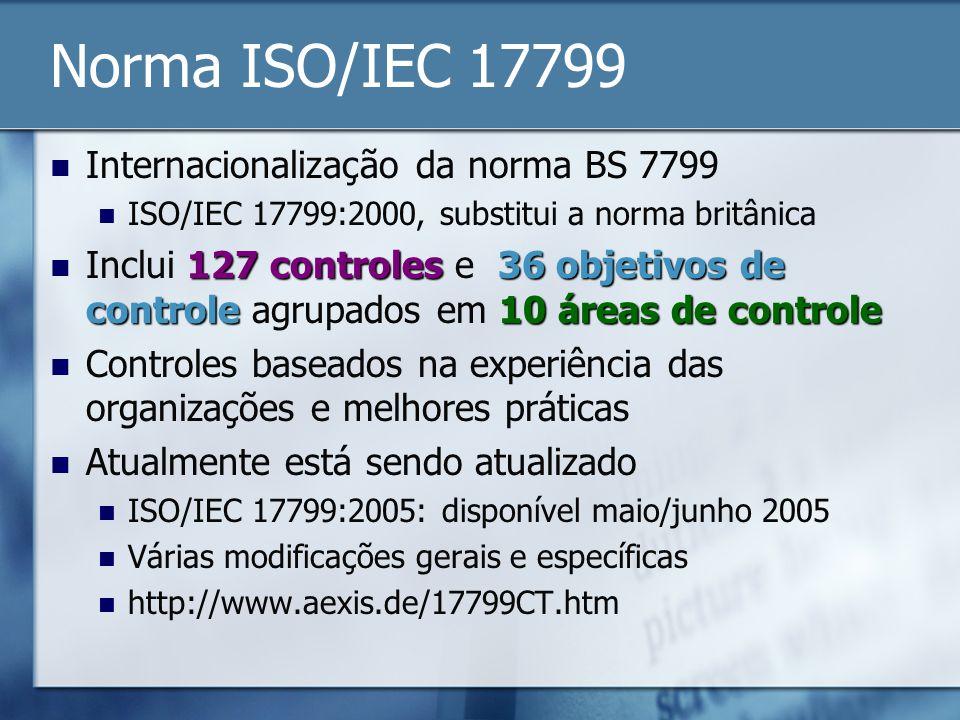 Norma ISO/IEC 17799 Internacionalização da norma BS 7799