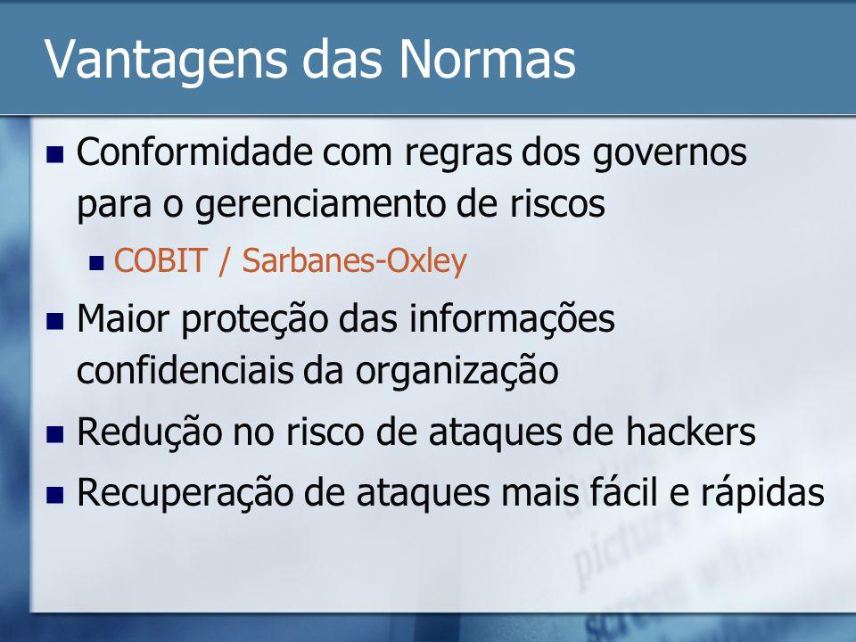 Vantagens das Normas Conformidade com regras dos governos para o gerenciamento de riscos. COBIT / Sarbanes-Oxley.
