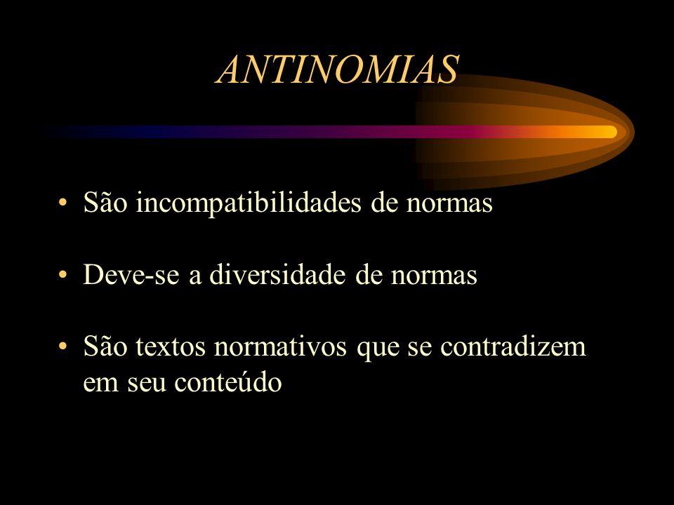 ANTINOMIAS São incompatibilidades de normas