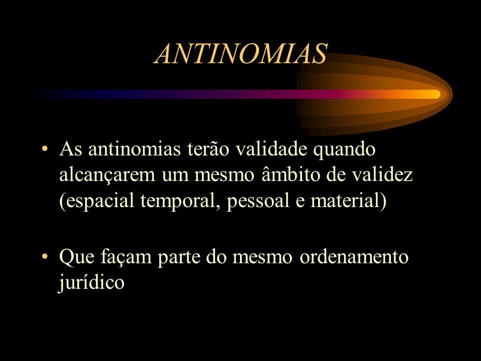 ANTINOMIAS As antinomias terão validade quando alcançarem um mesmo âmbito de validez (espacial temporal, pessoal e material)