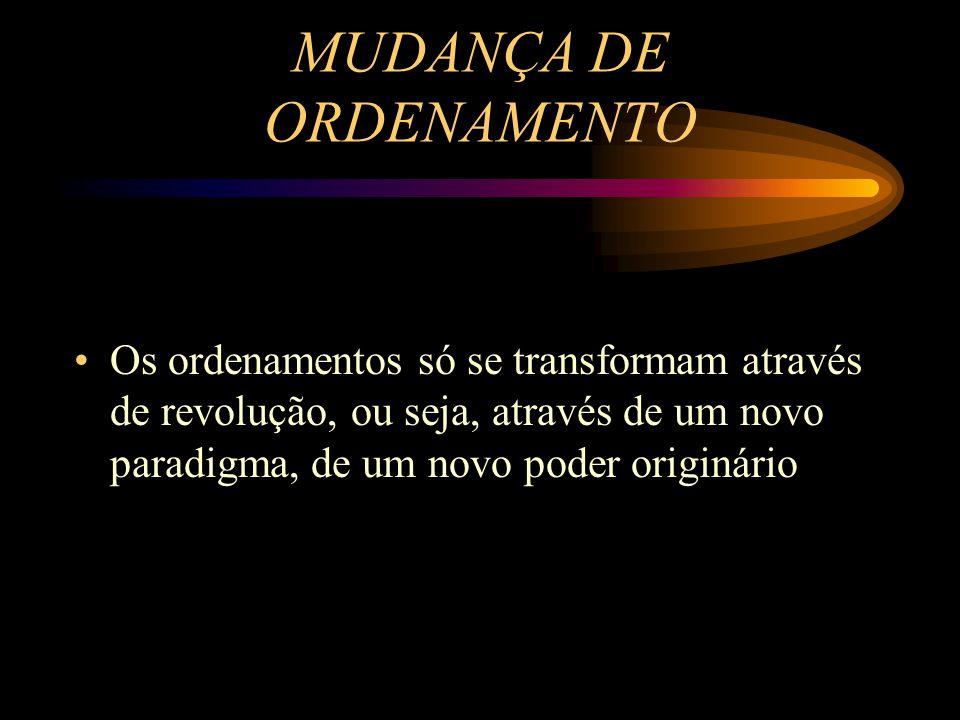 MUDANÇA DE ORDENAMENTO