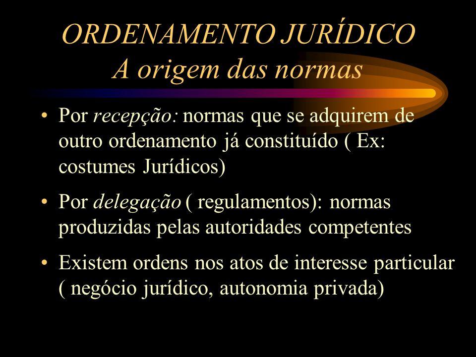 ORDENAMENTO JURÍDICO A origem das normas