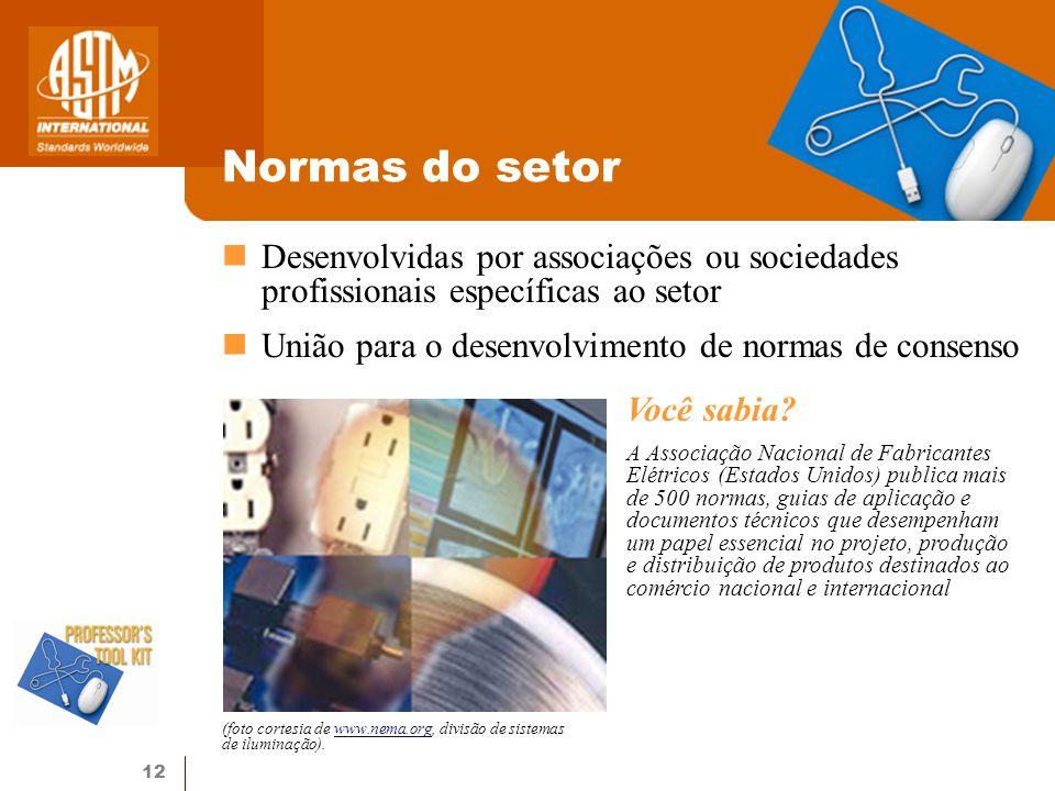Normas do setor Desenvolvidas por associações ou sociedades profissionais específicas ao setor. União para o desenvolvimento de normas de consenso.