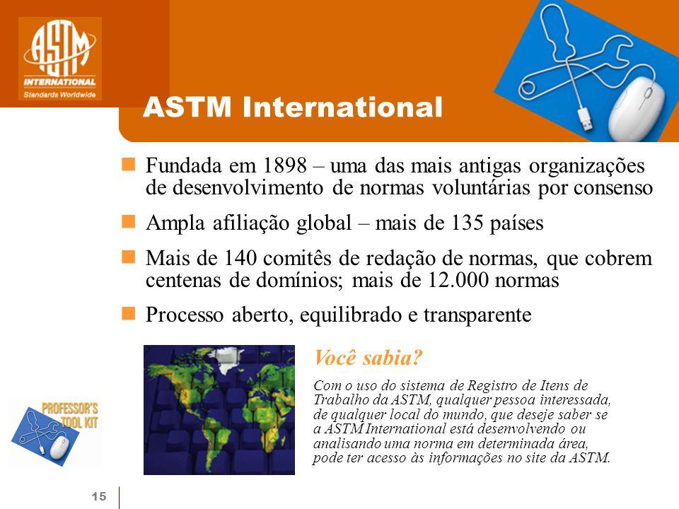 ASTM International Fundada em 1898 – uma das mais antigas organizações de desenvolvimento de normas voluntárias por consenso.