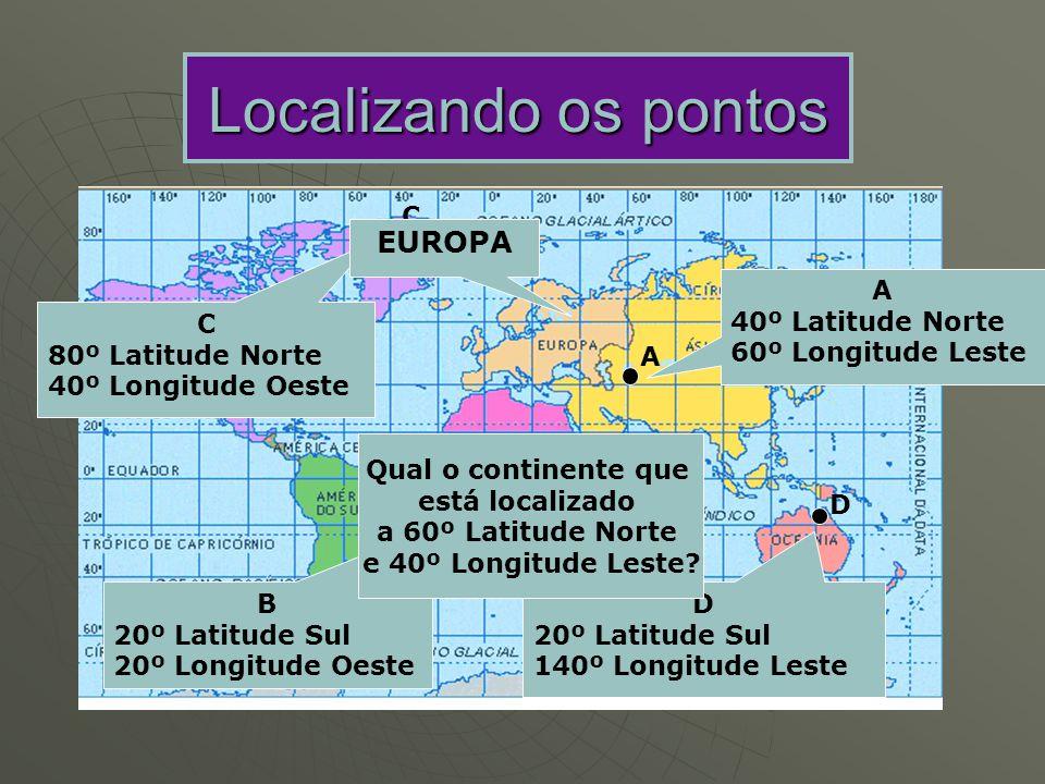 Localizando os pontos EUROPA C A 40º Latitude Norte