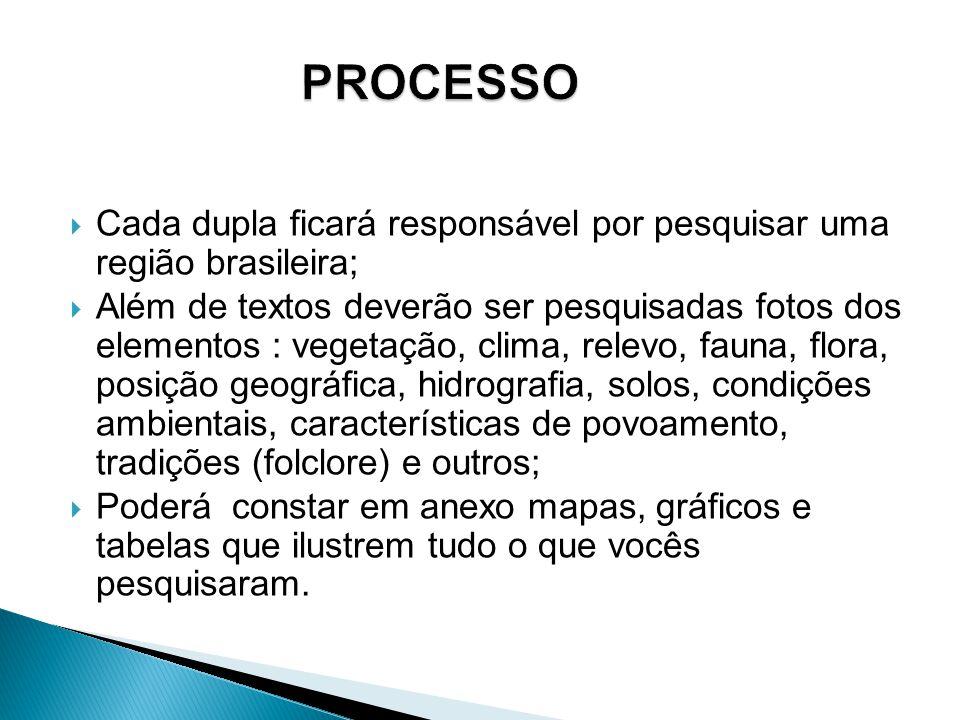 PROCESSO Cada dupla ficará responsável por pesquisar uma região brasileira;