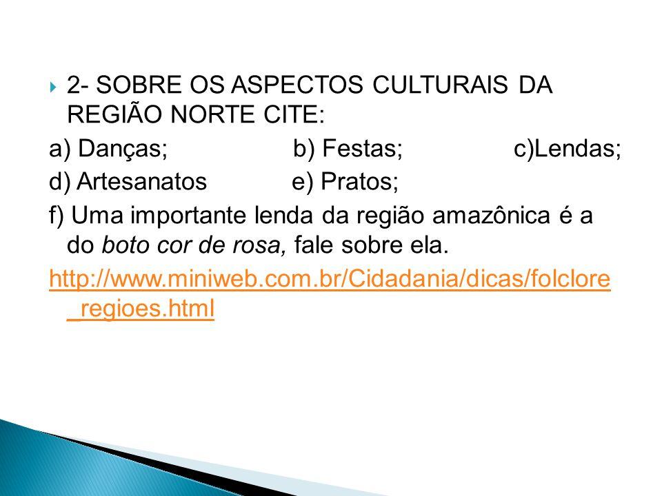 2- SOBRE OS ASPECTOS CULTURAIS DA REGIÃO NORTE CITE: