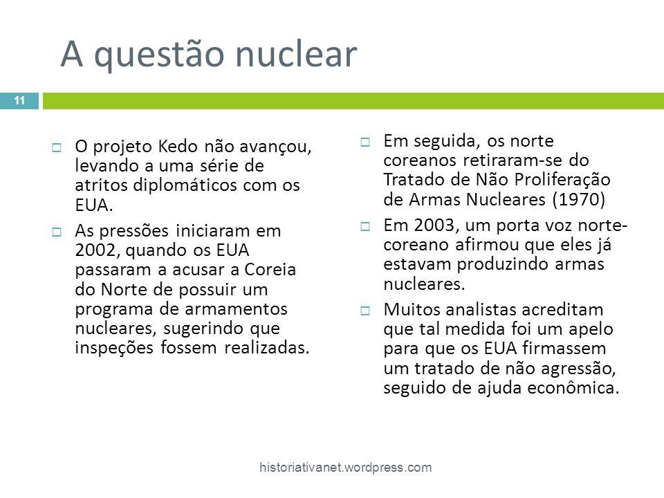 A questão nuclear Em seguida, os norte coreanos retiraram-se do Tratado de Não Proliferação de Armas Nucleares (1970)
