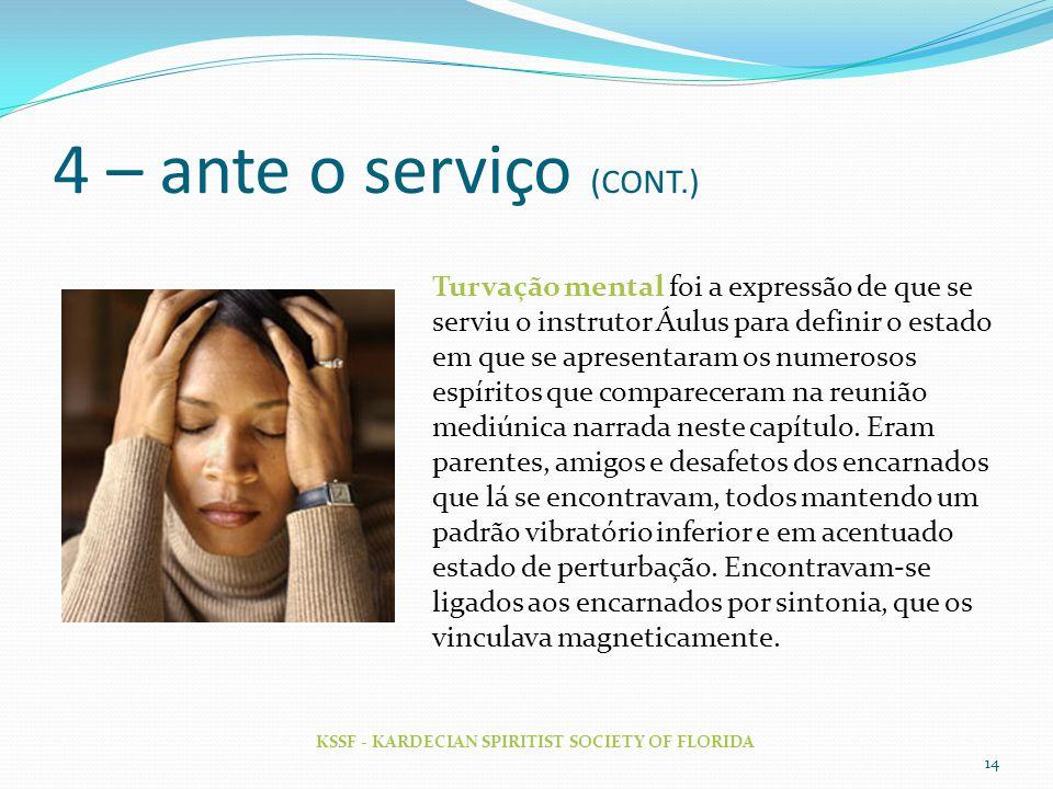 4 – ante o serviço (CONT.)