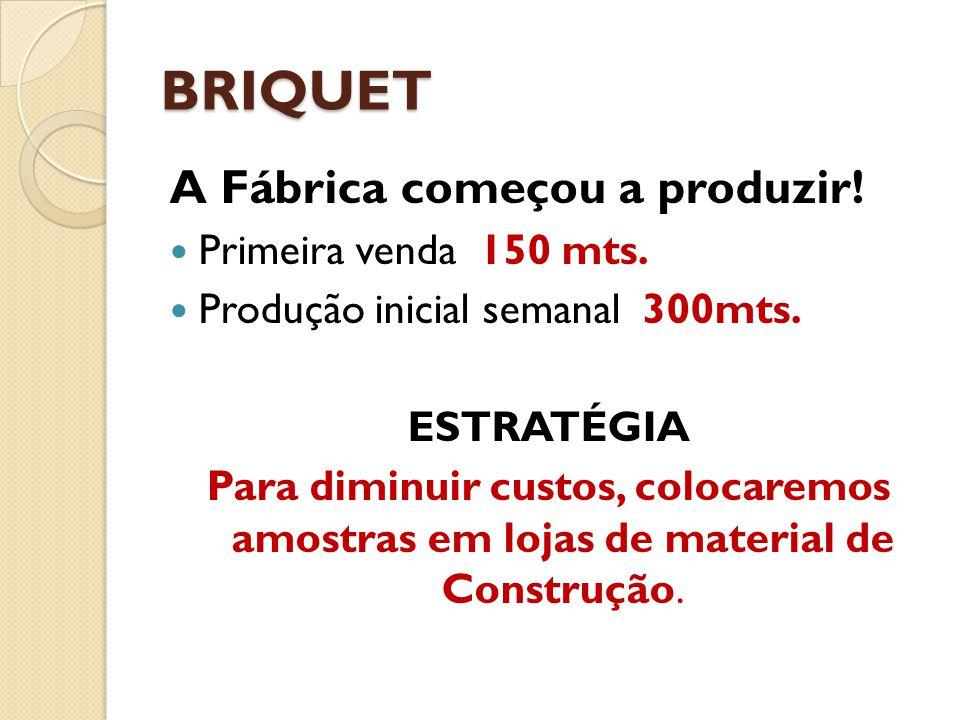 BRIQUET A Fábrica começou a produzir! Primeira venda 150 mts.