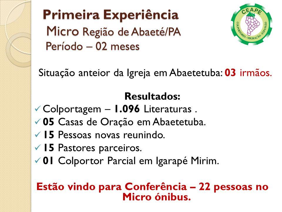 Primeira Experiência Micro Região de Abaeté/PA Período – 02 meses