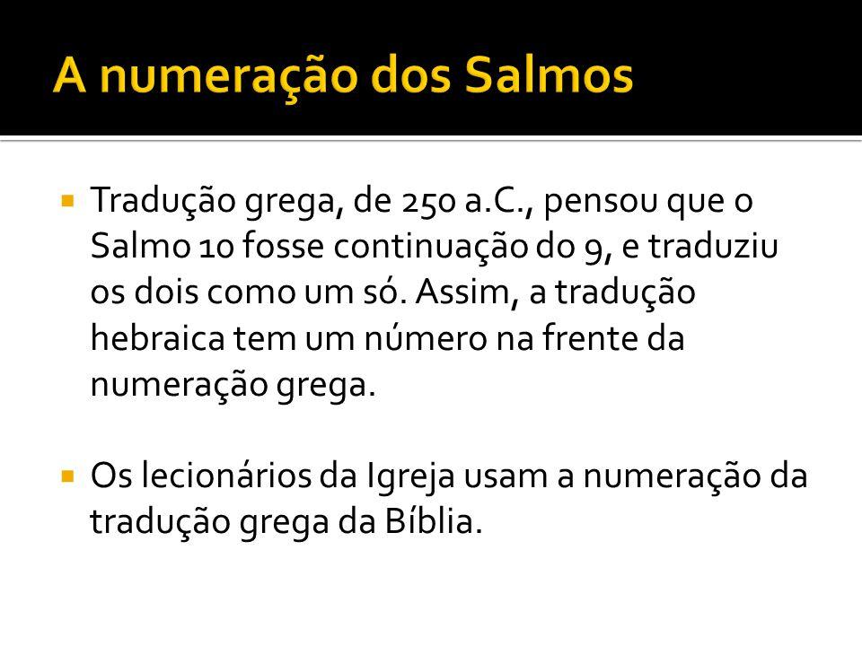 A numeração dos Salmos