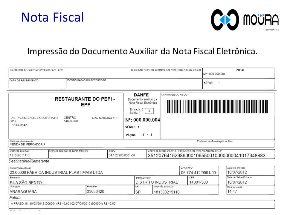 Nota Fiscal Impressão do Documento Auxiliar da Nota Fiscal Eletrônica.