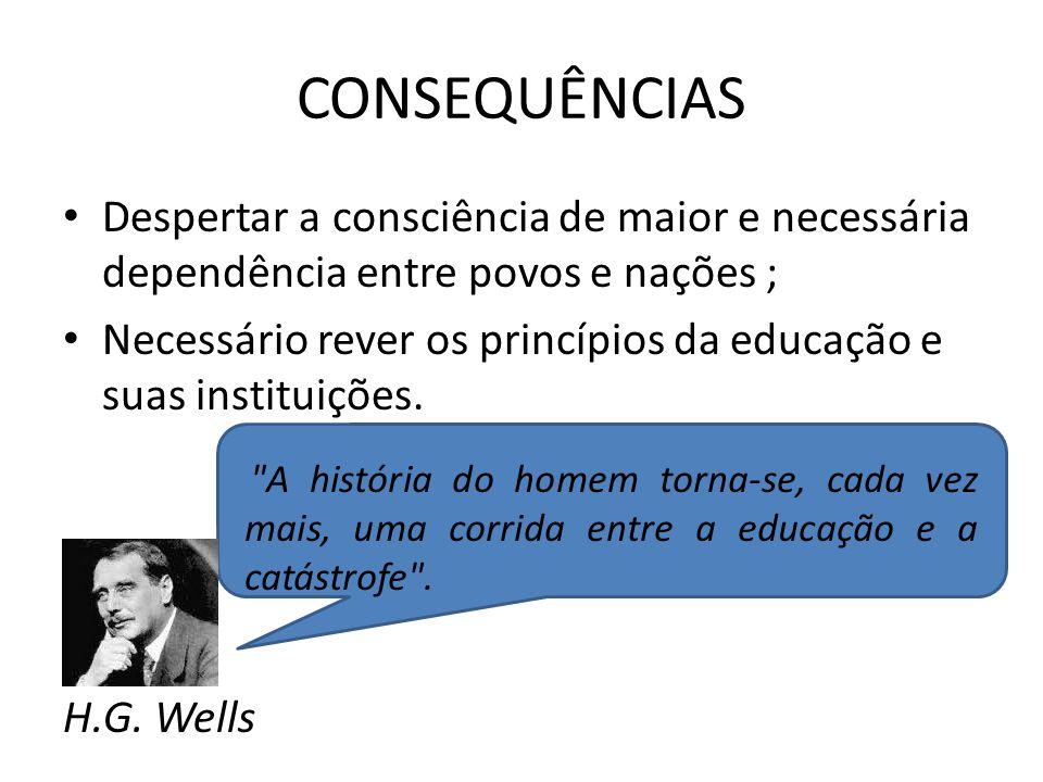 CONSEQUÊNCIAS Despertar a consciência de maior e necessária dependência entre povos e nações ;