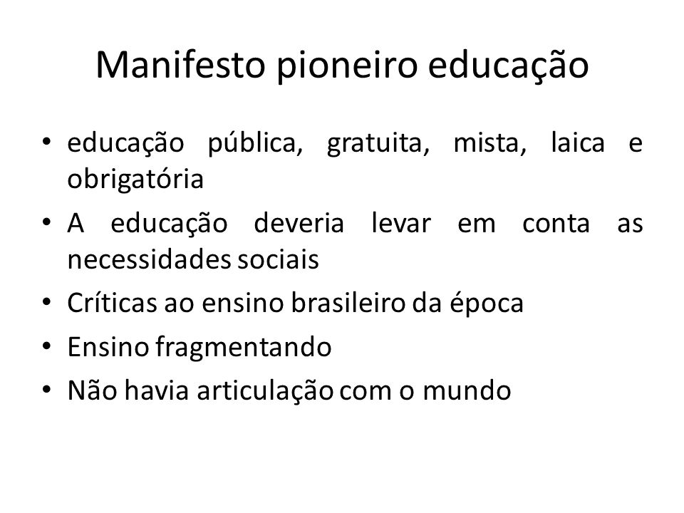 Manifesto pioneiro educação