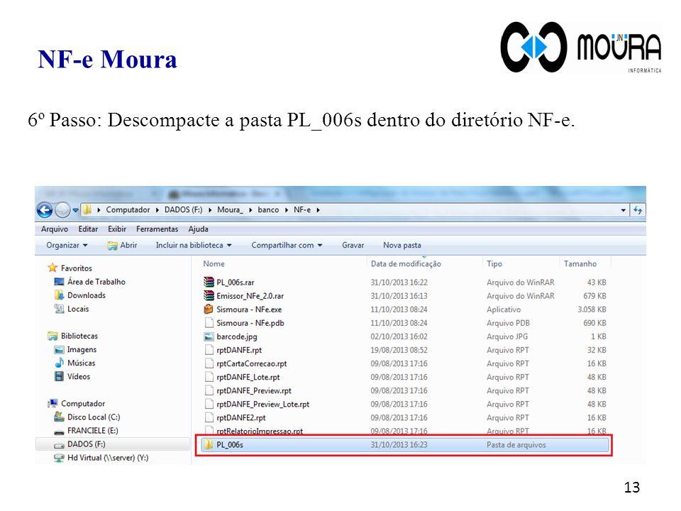 NF-e Moura 6º Passo: Descompacte a pasta PL_006s dentro do diretório NF-e.