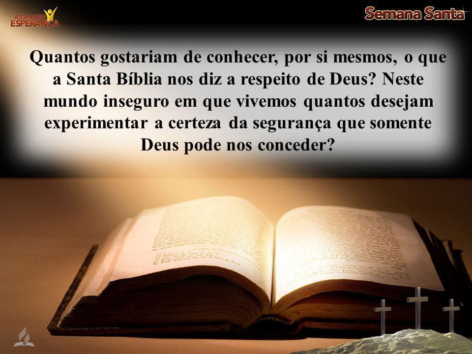 Quantos gostariam de conhecer, por si mesmos, o que a Santa Bíblia nos diz a respeito de Deus.