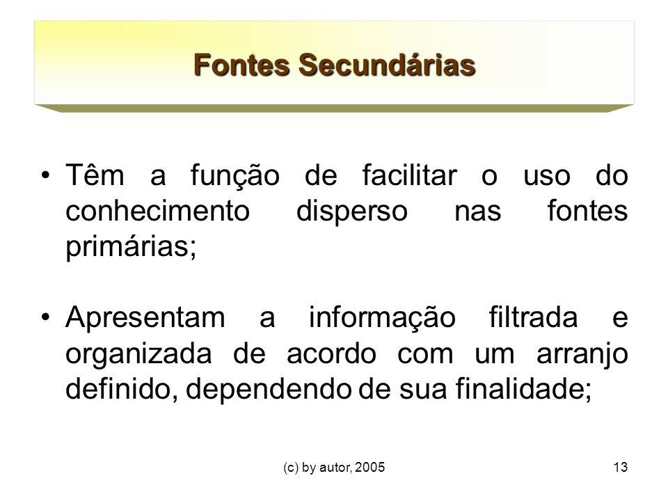 Fontes Secundárias Têm a função de facilitar o uso do conhecimento disperso nas fontes primárias;