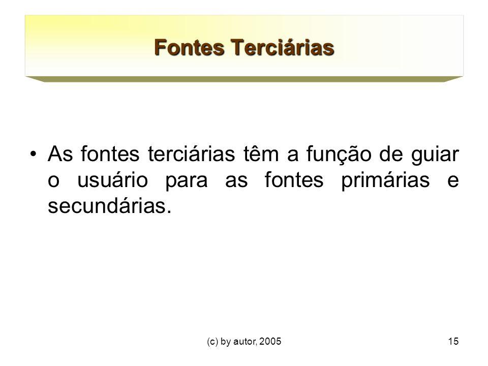 Fontes Terciárias As fontes terciárias têm a função de guiar o usuário para as fontes primárias e secundárias.