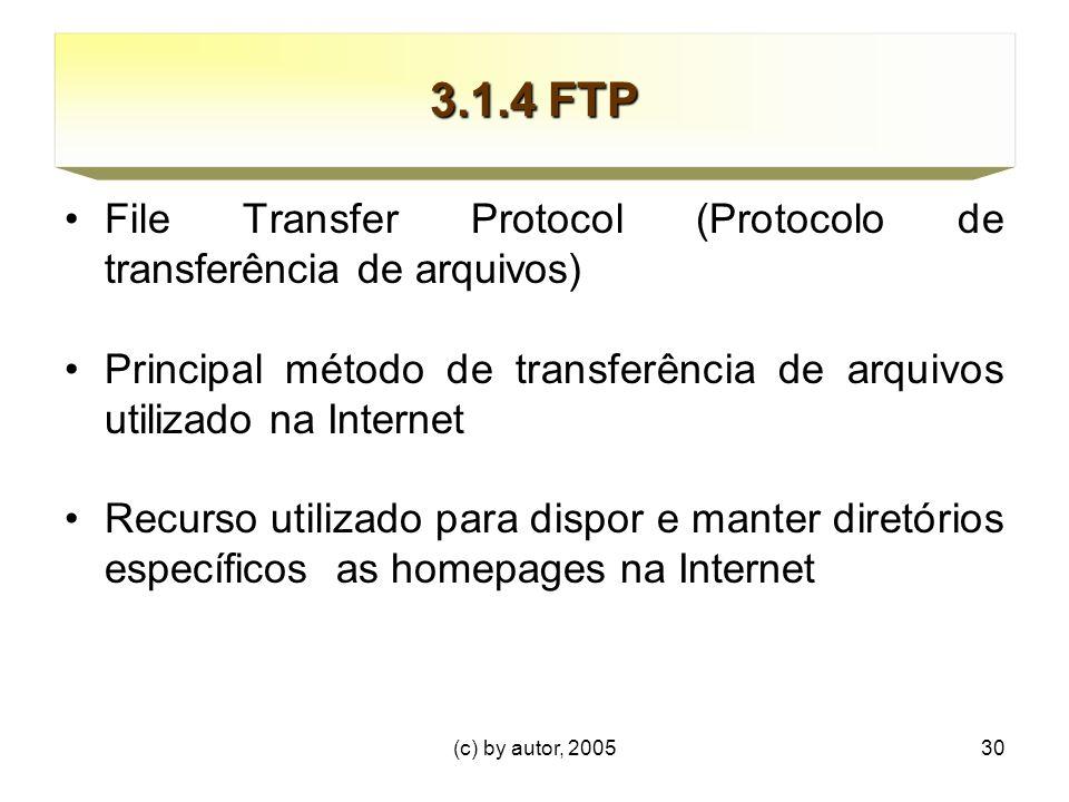 3.1.4 FTP File Transfer Protocol (Protocolo de transferência de arquivos) Principal método de transferência de arquivos utilizado na Internet.