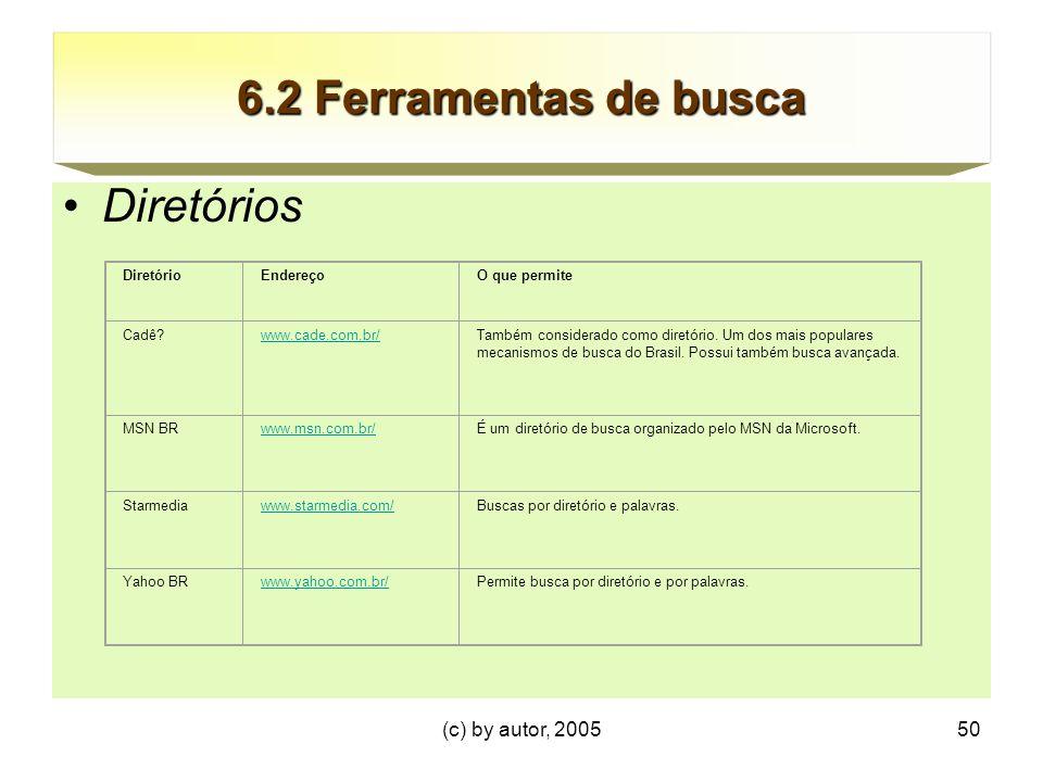 6.2 Ferramentas de busca Diretórios (c) by autor, 2005 Diretório