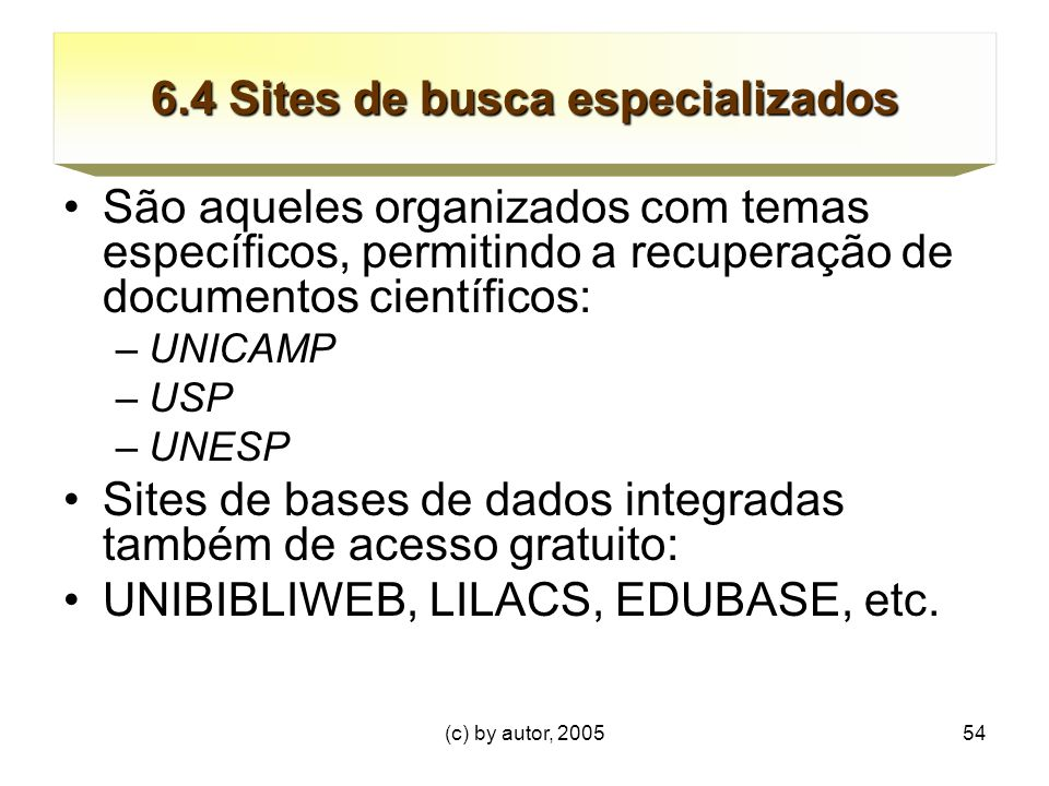 6.4 Sites de busca especializados