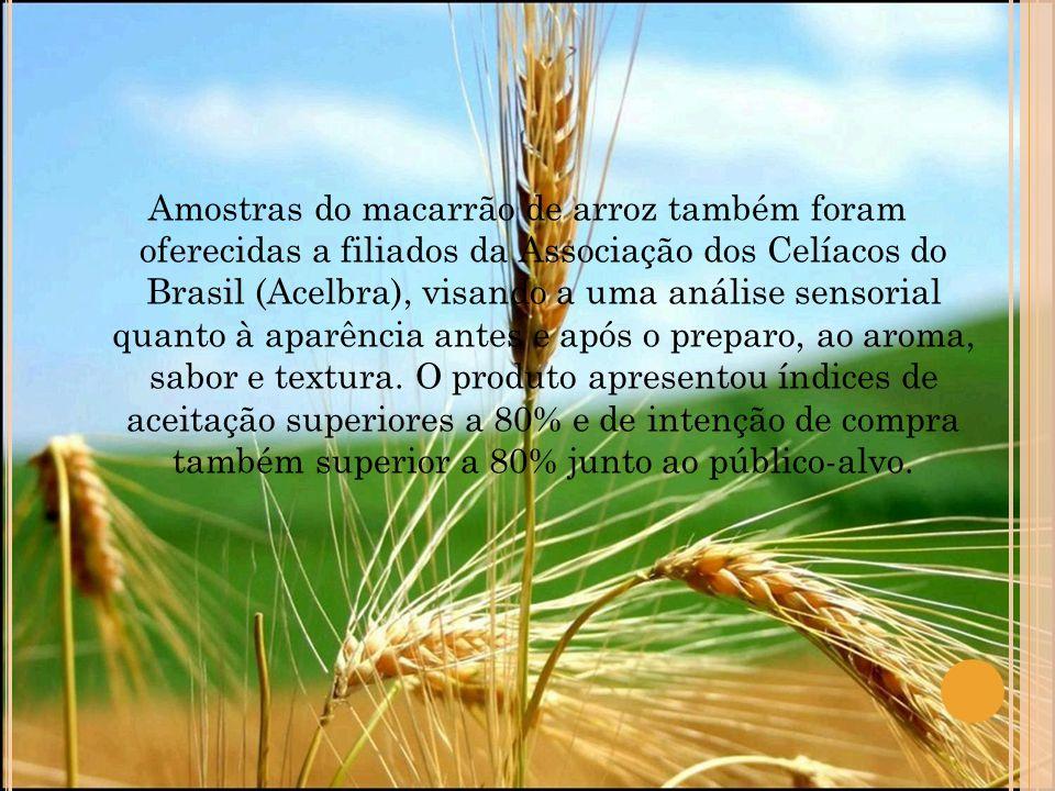 Amostras do macarrão de arroz também foram oferecidas a filiados da Associação dos Celíacos do Brasil (Acelbra), visando a uma análise sensorial quanto à aparência antes e após o preparo, ao aroma, sabor e textura.