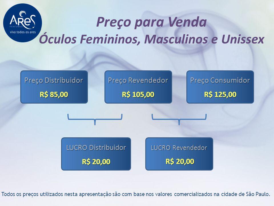 Preço para Venda Óculos Femininos, Masculinos e Unissex