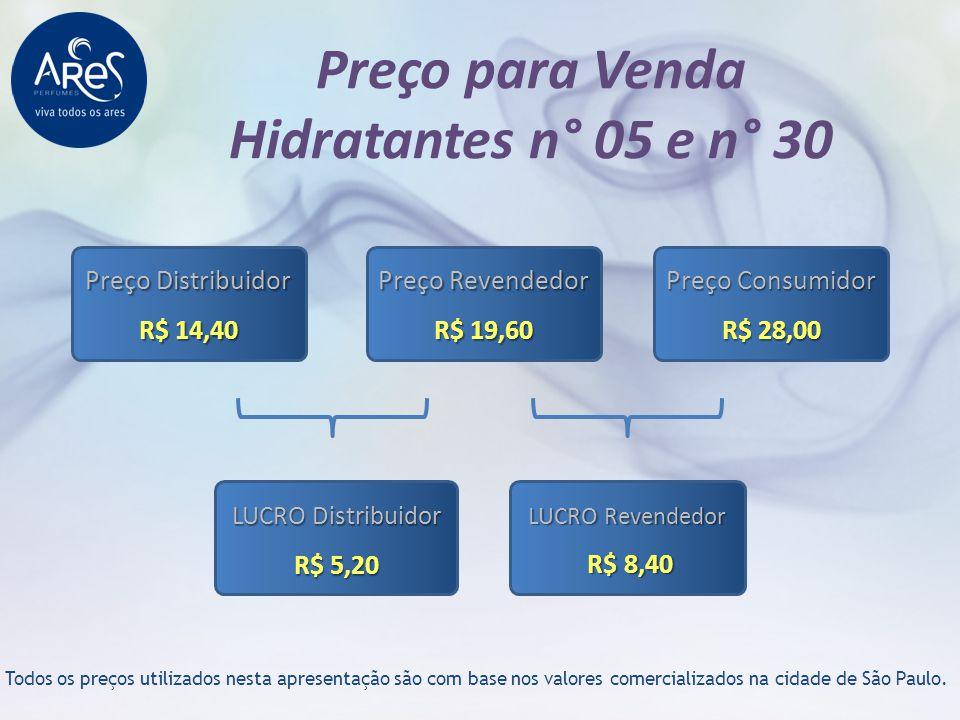 Preço para Venda Hidratantes n° 05 e n° 30