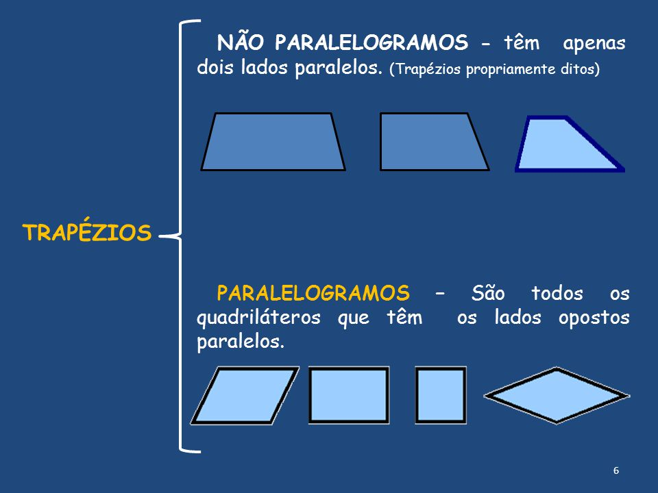 NÃO PARALELOGRAMOS - têm apenas dois lados paralelos