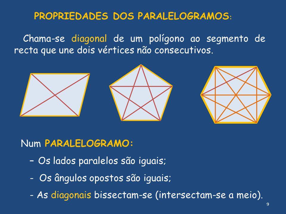 PROPRIEDADES DOS PARALELOGRAMOS: