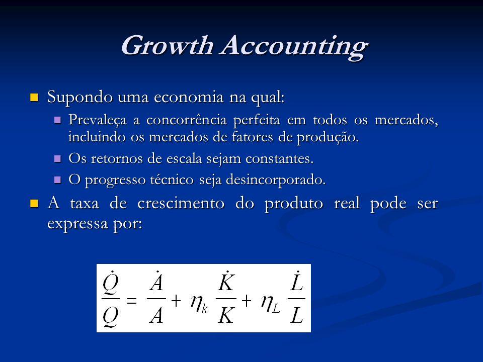 Growth Accounting Supondo uma economia na qual: