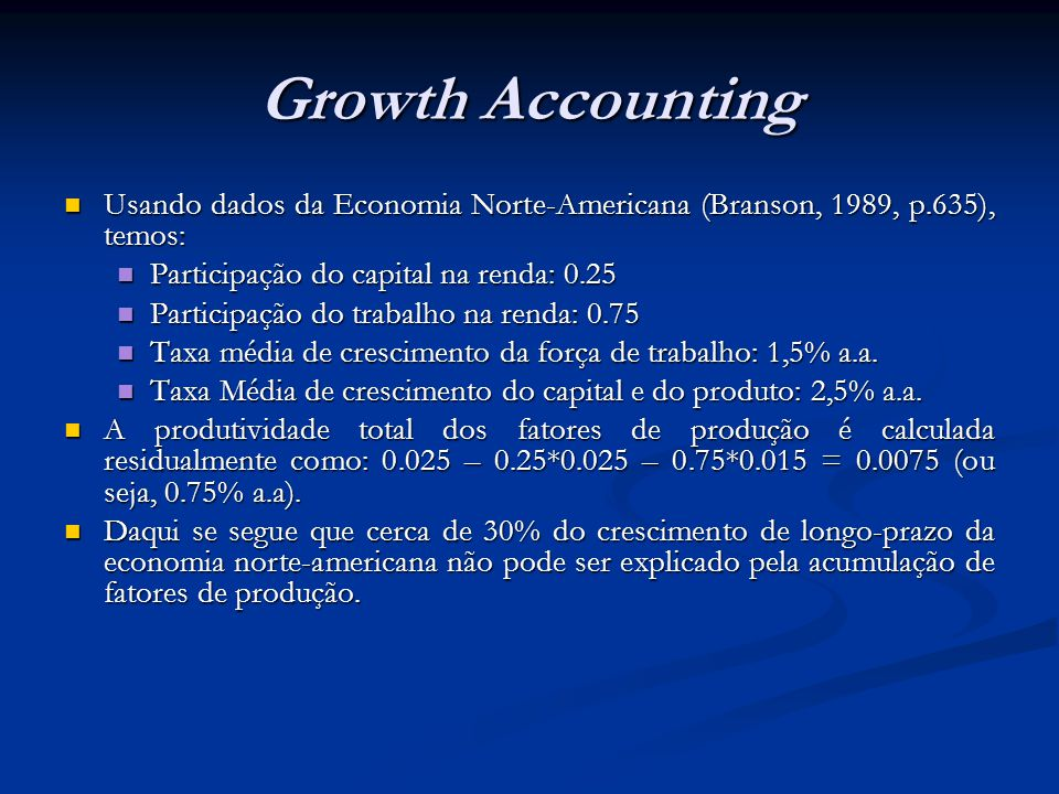 Growth Accounting Usando dados da Economia Norte-Americana (Branson, 1989, p.635), temos: Participação do capital na renda: 0.25.