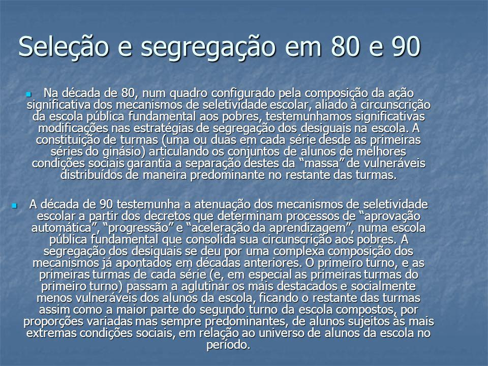 Seleção e segregação em 80 e 90