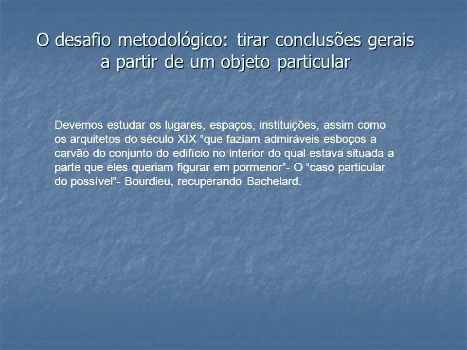 O desafio metodológico: tirar conclusões gerais a partir de um objeto particular