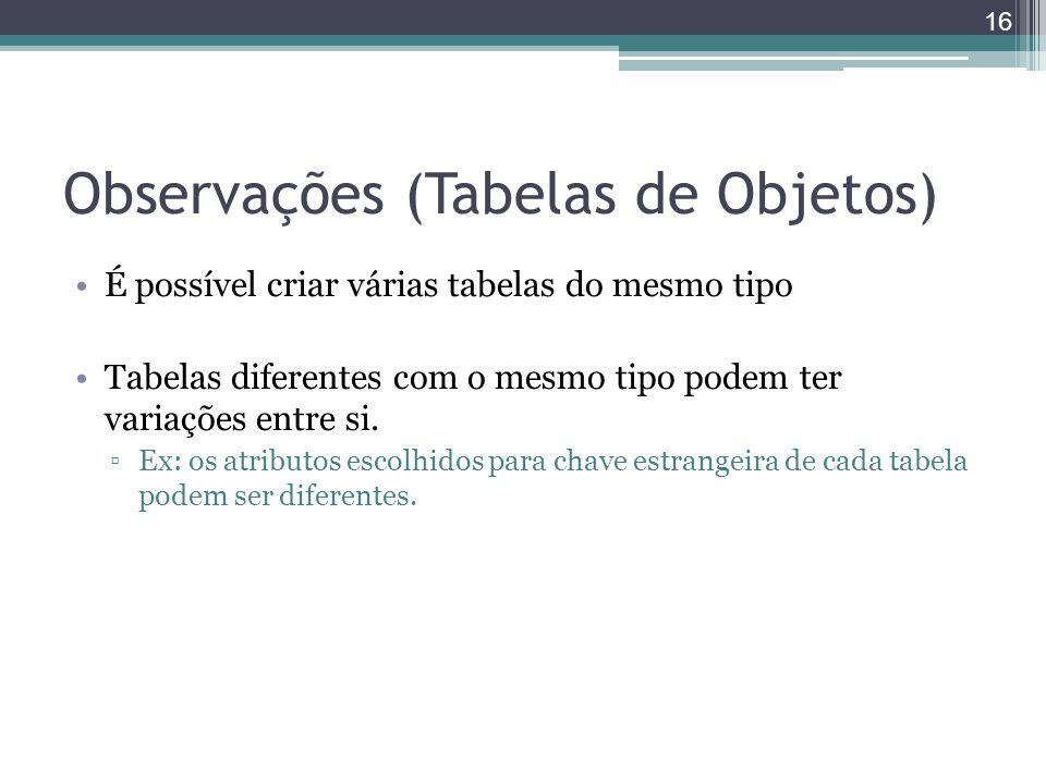 Observações (Tabelas de Objetos)