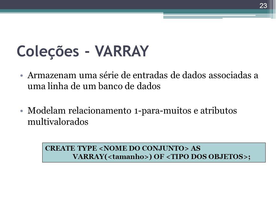 Coleções - VARRAY Armazenam uma série de entradas de dados associadas a uma linha de um banco de dados.