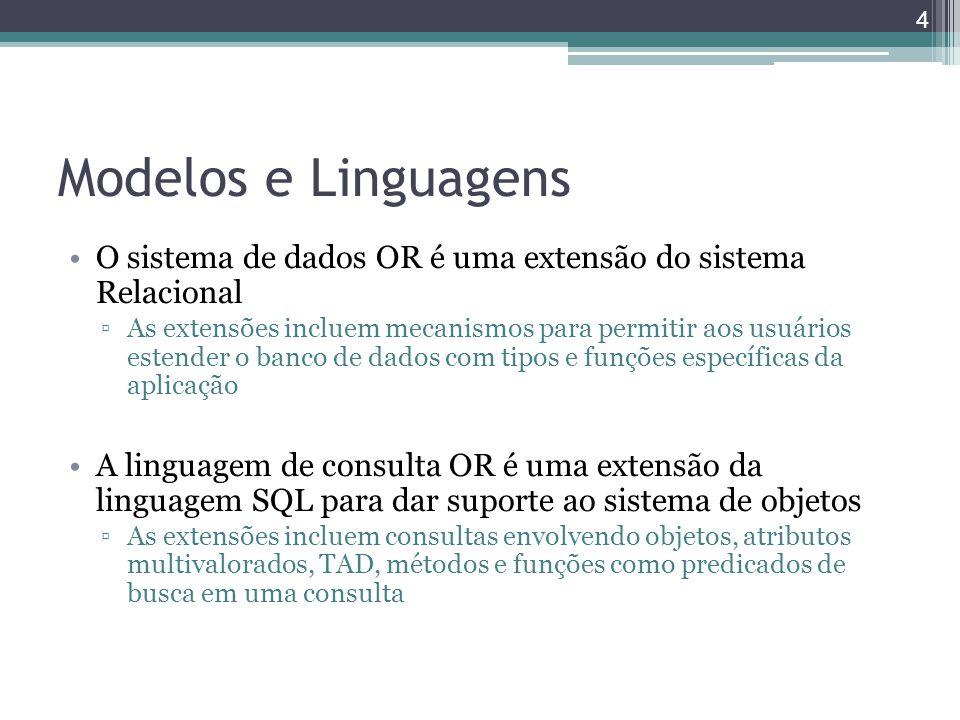 Modelos e Linguagens O sistema de dados OR é uma extensão do sistema Relacional.