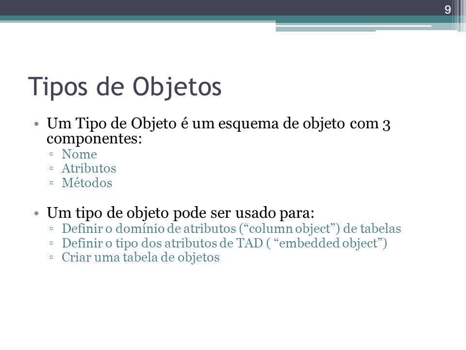 Tipos de Objetos Um Tipo de Objeto é um esquema de objeto com 3 componentes: Nome. Atributos. Métodos.